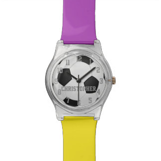 Choose Your Team Colors, Personalized Soccer Ball Wristwatches