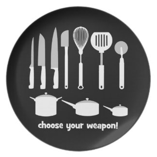 choose your weapon dinner plate