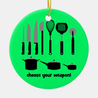 choose your weapon Double-Sided ceramic round christmas ornament