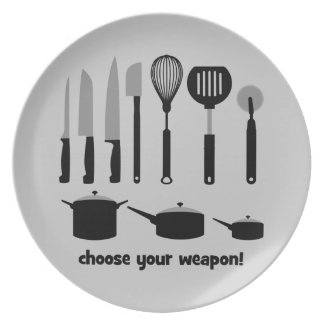 choose your weapon melamine plate
