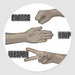 choose your weapon round stickers