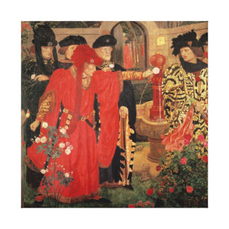 Choosing the Red and White Roses in Temple Canvas Print