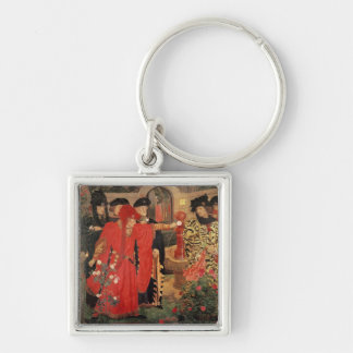 Choosing the Red and White Roses in Temple Keychain