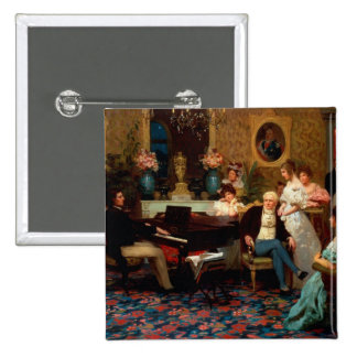 Chopin Playing the Piano 2 Inch Square Button