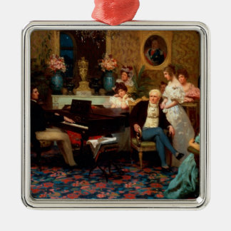 Chopin Playing the Piano Metal Ornament