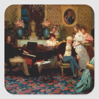 Chopin Playing the Piano Square Sticker