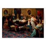Chopin que juega el piano tarjeta de felicitación