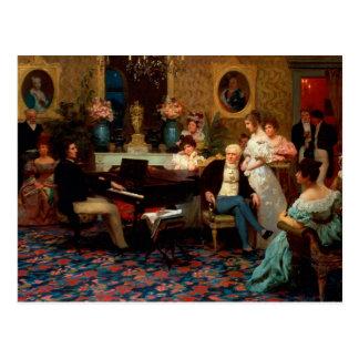 Chopin que juega el piano postal