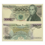 Chopin's portrait on Polish Currency poster