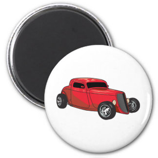 Chopped Red Street Rod 2 Inch Round Magnet