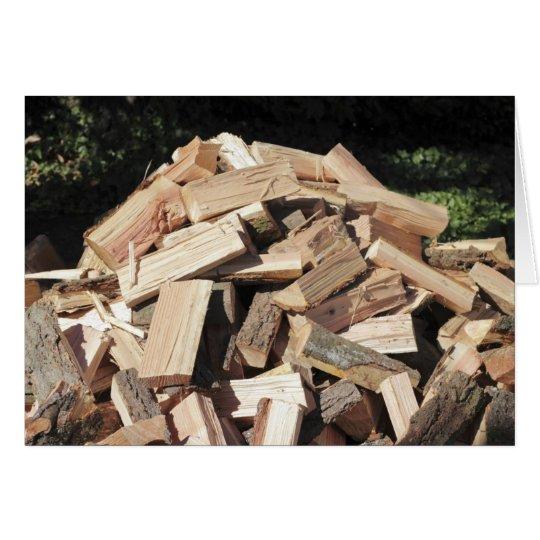 Chopped Wood Pile Outside Card