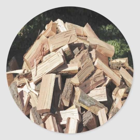 Chopped Wood Pile Outside Classic Round Sticker