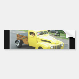 chopped yellow pickup with wood bed bumper sticker