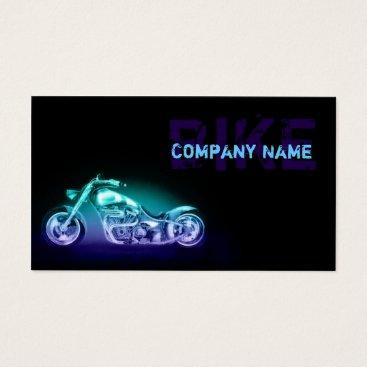 Professional Business Chopper Bike Neon Light Simple Black Business Card