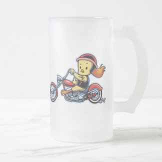 Chopper Chick -notx Frosted Glass Beer Mug