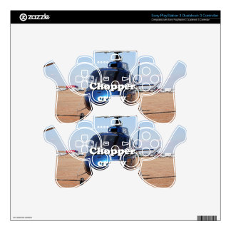 Chopper crazy: blue helicopter PS3 controller decal