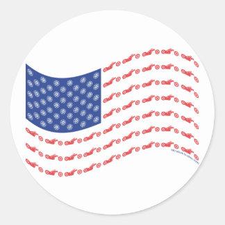 Chopper-Flag-Wave Round Sticker