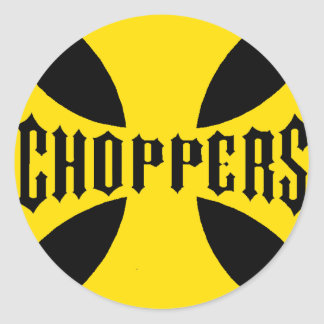 CHOPPERS YELLOW CLASSIC ROUND STICKER