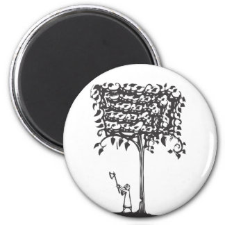 Chopping a Tree 2 Inch Round Magnet