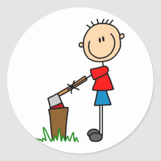 Chopping Wood Stick Figure Tshirts and Gifts Classic Round Sticker