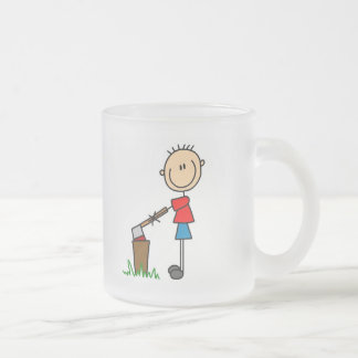 Chopping Wood Stick Figure Tshirts and Gifts Frosted Glass Coffee Mug