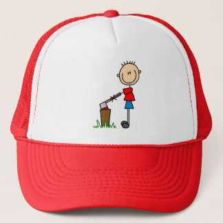 Chopping Wood Stick Figure Tshirts and Gifts Trucker Hat