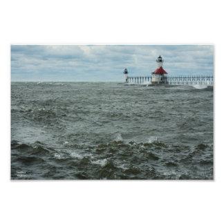 Choppy Lake Michigan Hurricane Sandy Print Photo