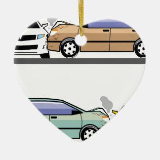 Choque de coche lateral adorno navideño de cerámica en forma de corazón