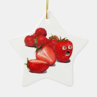 Choque de la fresa adorno navideño de cerámica en forma de estrella