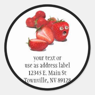 Choque de la fresa etiqueta