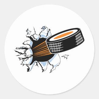 Choque del duende malicioso de hockey pegatina