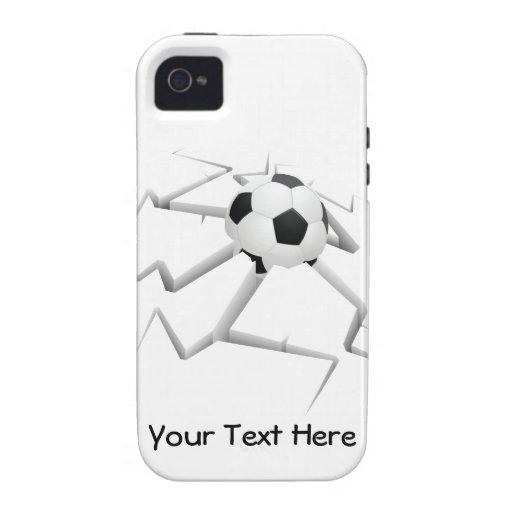 Choque del fútbol (personalizable) iPhone 4 carcasa