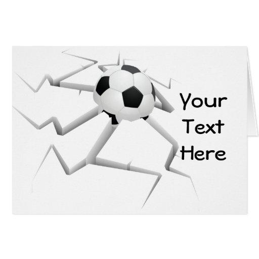 Choque del fútbol (personalizable) tarjeta de felicitación