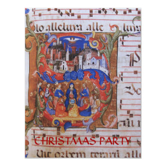 CHORAL MUSIC CHRISTMAS PARCHMENT WITH SAINTS CARD
