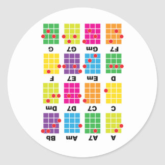 Chord Cheat Tee White Classic Round Sticker