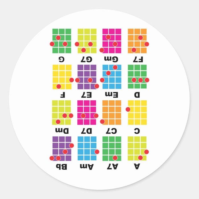 Chord Cheat Tee White Classic Round Sticker