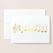 Chords We Wish you a Merry Christmas Music Notes Foil Card