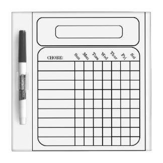 Chore Assigned Chart Small w/ Pen Dry Erase Board