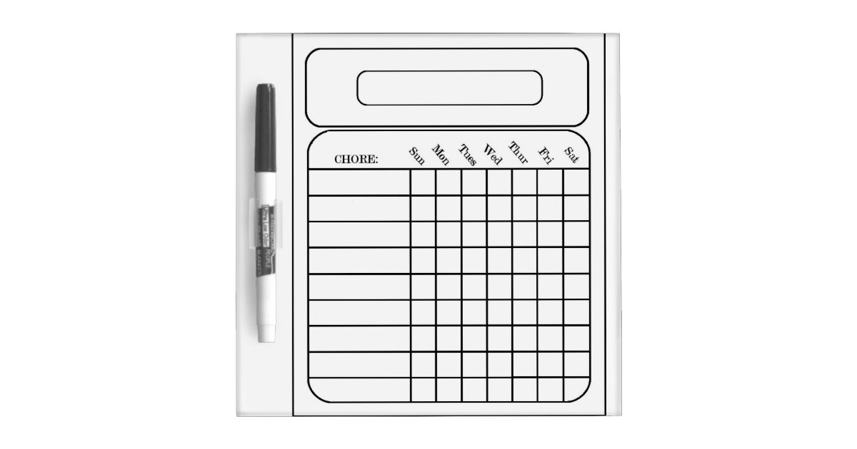 chore assigned chart small w   pen dry erase board