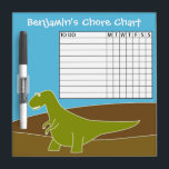 "Chore Chart Cute Cartoon Dinosaur Dry-Erase Board<br><div class=""desc"">Colorful Dino Illustration - Perfect for a young boy or birthday party!</div>"