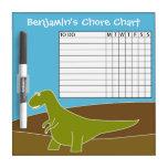 Chore Chart Cute Cartoon Dinosaur Dry Erase Whiteboard