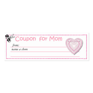 Chore Coupon for Mom Double-Sided Mini Business Cards (Pack Of 20)