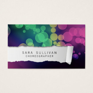 Choreographer Dancer Talent Colorful Ripped Paper Business Card