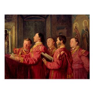 Choristers en la iglesia, 1870 postal
