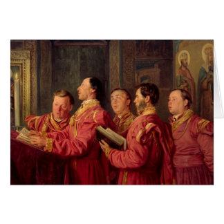 Choristers en la iglesia, 1870 tarjeta de felicitación