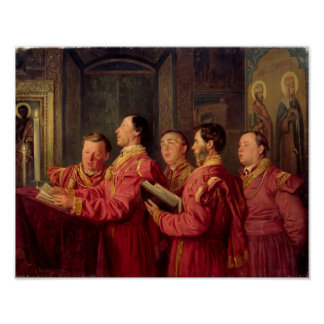 Choristers in the Church, 1870 Poster