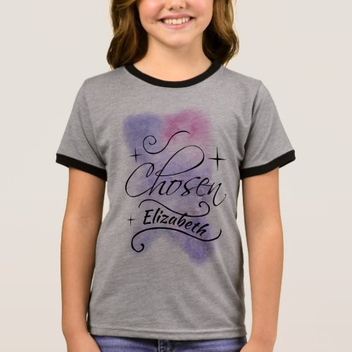 Chosen Foster Care, Adoption Theme Personalized Ringer T-Shirt