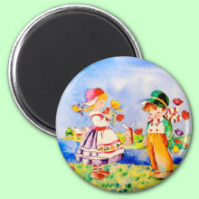 Chosen One Magnet - A Dutch boy and girl picking flowers, the boy has chosen one for his friend.