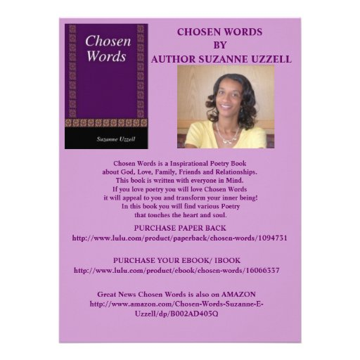 CHOSEN WORDS- BOOK PROMOTION GIFTS CUSTOM INVITE