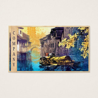 Chou Xing Hua Suzhou Scenery river sunset painting Business Card